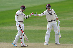 Somerset's Jamie and Craig Overton. Photo mandatory by-line: Harry Trump/JMP - Mobile: 07966 386802 - 26/05/15 - SPORT - CRICKET - LVCC County Championship - Division 1 - Day 3 - Somerset v Yorkshire - The County Ground, Taunton, England.