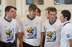 Branko Ilic, Milivoje Novakovi, Valter Birsa and Robert Koren at Reception of Slovenian National football team at president of Republic of Slovenia dr. Danilo Turk after Slovenia qualified for the FIFA World Cup South Africa 2010, in President's place , Ljubljana, Slovenia.   (Photo by Vid Ponikvar / Sportida)