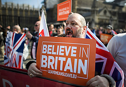 © Licensed to London News Pictures. 29/03/2019. London, UK. Supporters of Brexit gather in Parliament square where March for Leave is due to complete it's final leg of a mass walk from Sunderland. MPs will later vote on the withdrawal agreement, which sets out the terms of the UK's departure from the EU. Photo credit: Ben Cawthra/LNP
