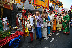 August 27, 2017 - Paris, France - Hindu community celebrate 22nd Ganesh Festival in Paris, France, on 27 August 2017. Lord Ganesh, one of the most popular Hindu deities, is believed to grant progress, prosperity and wisdom. (Credit Image: © Julien Mattia/NurPhoto via ZUMA Press)