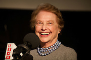 New York, NY - April 11, 2015: Restaurant critic and author, Mimi Sheraton interviewed at the Food Book Fair by podcast host, Dan Pashman at the Wythe Hotel in Williamsburg. <br /> <br /> CREDIT: Clay Williams for Food Book Fair.<br /> <br /> © Clay Williams / claywilliamsphoto.com
