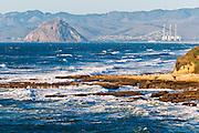 Rocky coast and surf, Montana de Oro State Park, California USA