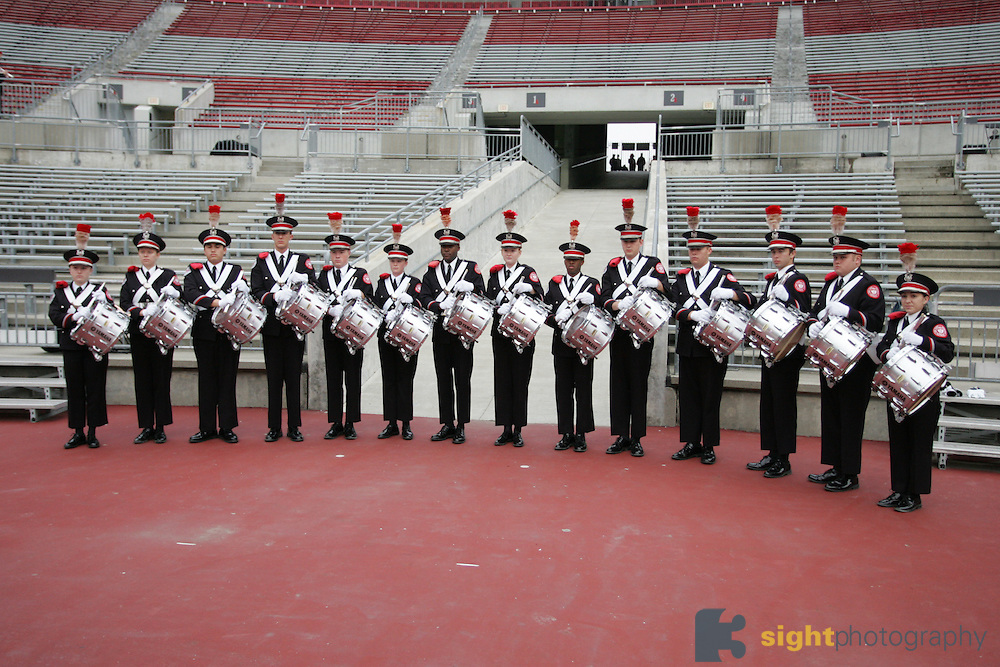 COLUMBUS, OH - November 18, 2006; The Ohio State University Marching Band percussion section. Credit: Bryan Rinnert