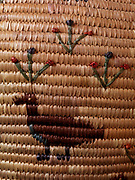Yupik grass basket decorated with goose and flowers woven by Nellie Piakak of Kipnuk, Alaska. (Please note:  Licensing of this photo requires a license and additional fee to be paid to the basket's creator, Nellie Piakak)