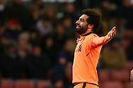 Mohamed Salah of Liverpool celebrates after scoring his teams 3rd goal. Premier league match, Stoke City v Liverpool at the Bet365 Stadium in Stoke on Trent, Staffs on Wednesday 29th November 2017.<br /> pic by Chris Stading, Andrew Orchard sports photography.