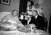 04/08/1967<br /> 08/04/1967<br /> 04 August 1967<br /> President Eamon de Valera visits Senator Margaret Pearse who was celebrating here 89th birthday at the Lindon Convalescent Home, Blackrock, Co. Dublin. Sister of Padraig Pearse 1961 Revolution Leader Killed by British