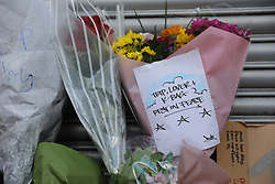 © Licensed to London News Pictures. 19/06/2018. London, UK. Tributes and flowers are left by Loughborough Junction station for the three graffiti artists believed to have been killed by a night train. Photo credit: Rob Pinney/LNP
