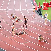 TOKYO, JAPAN August 2: Exhausted runner after the 5000m for Women Final during the Track and Field competition at the Olympic Stadium  at the Tokyo 2020 Summer Olympic Games on August 2nd, 2021 in Tokyo, Japan. (Photo by Tim Clayton/Corbis via Getty Images)