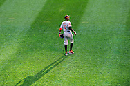 Baltimore Orioles center fielder Adam Jones #10 looks into the stands during a game against the Minnesota Twins at Target Field in Minneapolis, Minnesota on July 16, 2012.  The Twins defeated the Orioles 19 to 7 setting a Target Field record for runs scored by the Twins.  © 2012 Ben Krause