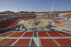 October 30, 2017 - Pyeongchang, Gangwon, South Korea - Oct 30, 2017-Pyeongchang, South Korea-Workers build a main stadium in Pyeongchang, South Korea, the venue for ice hockey in the Pyeongchang Winter Olympics in February 2018. (Credit Image: © Ryu Seung Il via ZUMA Wire)