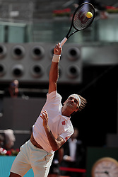 May 9, 2019 - Madrid, Madrid, Spain - Roger Federer seen in action during the Mutua Madrid Open Masters match on day 7 at Caja Magica in Madrid. (Credit Image: © Legan P. Mace/SOPA Images via ZUMA Wire)