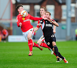 Crewe Alexandra's Oliver Turton controls the ball under pressure from Bristol City's Scott Wagstaff - Photo mandatory by-line: Dougie Allward/JMP - Tel: Mobile: 07966 386802 19/10/2013 - SPORT - FOOTBALL - Alexandra Stadium - Crewe - Crewe V Bristol City - Sky Bet League One