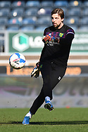 Norwich City goalkeeper Tim Krul (1)   kicks the ball during the warm up during the EFL Sky Bet Championship match between Wycombe Wanderers and Norwich City at Adams Park, High Wycombe, England on 28 February 2021.