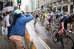 \lotle of Cervélo-Bigla Cycling Team accelerates out of a corner in the second lap of the Prudential Ride London Classique - a 66 km road race, starting and finishing in London on July 29, 2017, in London, United Kingdom. (Photo by Balint Hamvas/Velofocus.com)