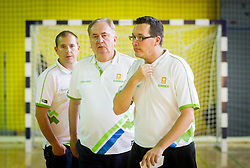 Matej Avanzo, Bozidar Maljkovic, head coach and Grega Brezovec during training camp of Slovenian National basketball team for Eurobasket 2013 on July 19, 2013 in Sports hall Rogatec, Slovenia. (Photo by Vid Ponikvar / Sportida.com)
