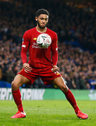 Liverpool's Joe Gomez in action during the English FA Cup fifth round soccer match between Chelsea and Liverpool at Stanford Bridge Stadium, Wednesday, March 3, 2020, in London, United Kingdom. (ESPA-Images/Image of Sport)