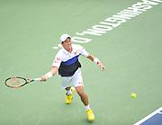 KEI NISHIKORI of Japan plays against Leonardoa Mayer of Argentina at Day 4 of the Citi Open at the Rock Creek Tennis Center in Washington, D.C. Nishikori won in straight sets.