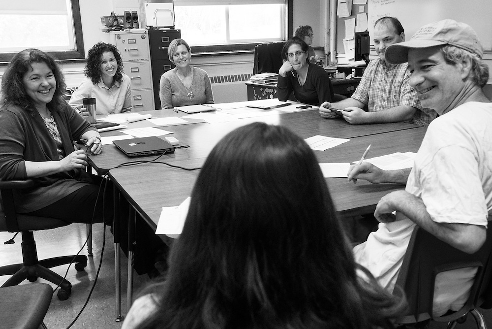 Teachers, special educators and administrators meet with Mackenzie Dakin, center, and her parents Patrick, right, and Sara Dakin, not pictured, at South Royalton High School to propose a plan for Dakin's senior year in South Royalton, Vt. Friday, May 08, 2015. Dakin, who has a form of ADHD, needs to fulfill one English credit in her senior year. She will also spend four half-days each week learning stable management and riding at a horse farm through the Community Based Learning program. (Valley News - James M. Patterson)<br /> Copyright © Valley News. May not be reprinted or used online without permission. Send requests to permission@vnews.com.