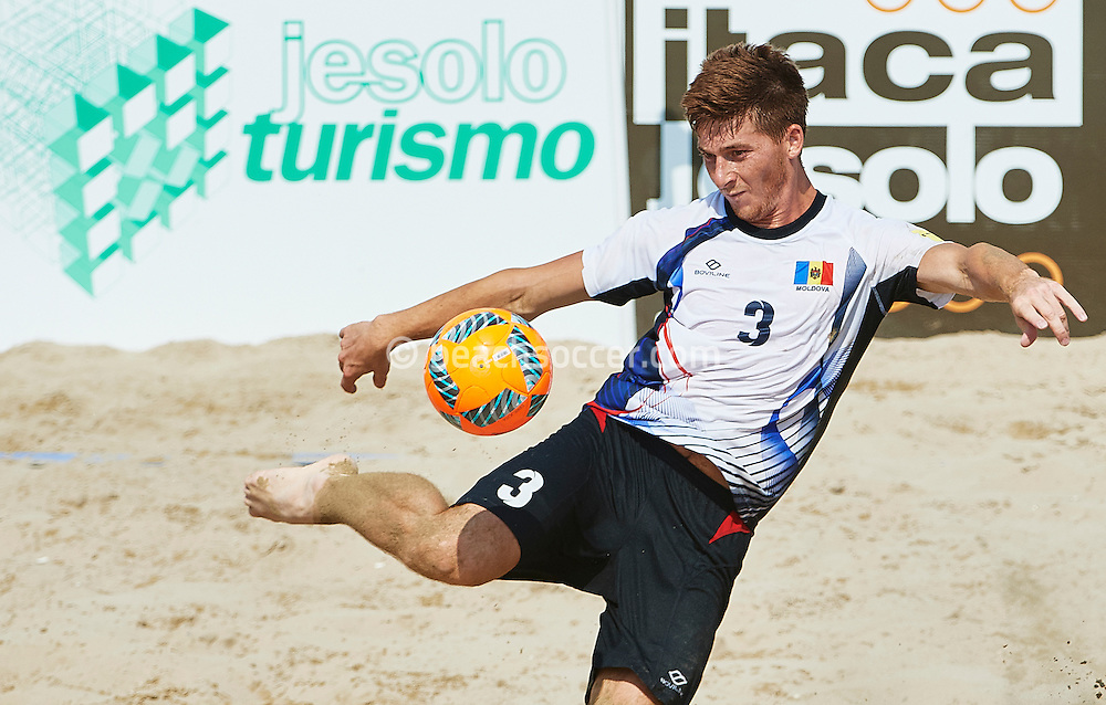 Moldova's Gojocari in action during the FIFA Beach Soccer World Cup qualifier in Jesolo. (Photo by Lea Weil)