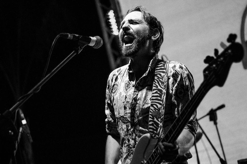 Antonio Di Martino, frontman and vocalist of the indie pop Italian band Dimartino during the concert at la Cabina 56 in Torre Annunziata, southern Italy, on July 5 2015. Eliano Imperato / Controluce