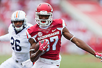 FAYETTEVILLE, AR - OCTOBER 24:  Dominique Reed #87 of the Arkansas Razorbacks runs with the ball during a game against the Auburn Tigers at Razorback Stadium on October 24, 2015 in Fayetteville, Arkansas.  The Razorbacks defeated the Tigers in 4 OT's 54-46.  (Photo by Wesley Hitt/Getty Images) *** Local Caption *** Dominique Reed