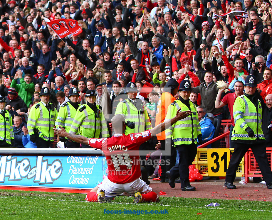 Picture by John Rainford/Focus Images Ltd. 07506 538356.05/05/12.Danny Haynes of Charlton Athletic celebrates his goal Hartlepool United in front of the home fans during the Npower League 1 match at The Valley stadium, London.