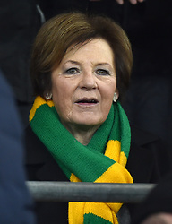 """Norwich City majority shareholder Delia Smith during the Sky Bet Championship match at the Cardiff City Stadium, Cardiff. PRESS ASSOCIATION Photo Picture date: Friday December 1, 2017. See PA story SOCCER Cardiff. Photo credit should read: Simon Galloway/PA Wire. RESTICTIONS: EDITORIAL USE ONLY No use with unauthorised audio, video, data, fixture lists, club/league logos or """"live"""" services. Online in-match use limited to 75 images, no video emulation. No use in betting, games or single club/league/player publications."""