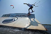 Outerbanks, NC - Eric Rienstra kiteboarding at the Triple-S 2011