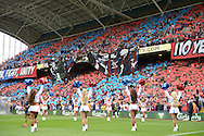 a view as large Crystal Palace banners open up as the cheerleaders welcome both teams onto the pitch before k/o. Barclays Premier league match, Crystal Palace v Arsenal at  Selhurst Park in London on Sunday 16th August 2015.<br /> pic by John Patrick Fletcher, Andrew Orchard sports photography.