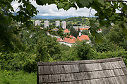 Aerial view of old agricultural architecture and new housing in Skofja Loka, on 25th June 2018, in Skofja Loka, Slovenia.