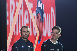February 23, 2019 - Abu Dhabi, United Arab Emirates - Alejandro Valverde (Movistar Team) and Rui Costa (UAE - Team Emirates), during the chat with the event host, Jonathan Edwards, at the opening ceremony of the 1st UAE Tour, inside Louvre Abu Dhabi museum..On Saturday, February 23, 2019, Abu Dhabi, United Arab Emirates. (Credit Image: © Artur Widak/NurPhoto via ZUMA Press)