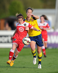 Bristol Academy's Christie Murray battles with Arsenal Ladies' Casey Stoney - Photo mandatory by-line: Paul Knight/JMP - Mobile: 07966 386802 - 09/05/2015 - SPORT - Football - Bristol - Stoke Gifford Stadium - Bristol Academy Women v Arsenal Ladies FC - FA Women's Super League