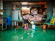 01 NOVEMBER 2017 - BANG TOEI, PATHUM THANI, THAILAND: The community of Bang Toei, Sam Khok district, Pathum Thani province, flooded from the Chao Phraya River. Many communities north of Bangkok are flooded because dams have been opened to reliever pressure on reservoirs.    PHOTO BY JACK KURTZ