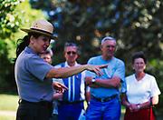 National Park Service Interpretive Ranger Ginger Cox leading tour of Melrose, Natchez National Historical Park, Natchez, Mississippi.