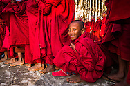 Novice monks wait in line at the Ananda Pagoda Festival in Bagan, Myanmar (Burma).