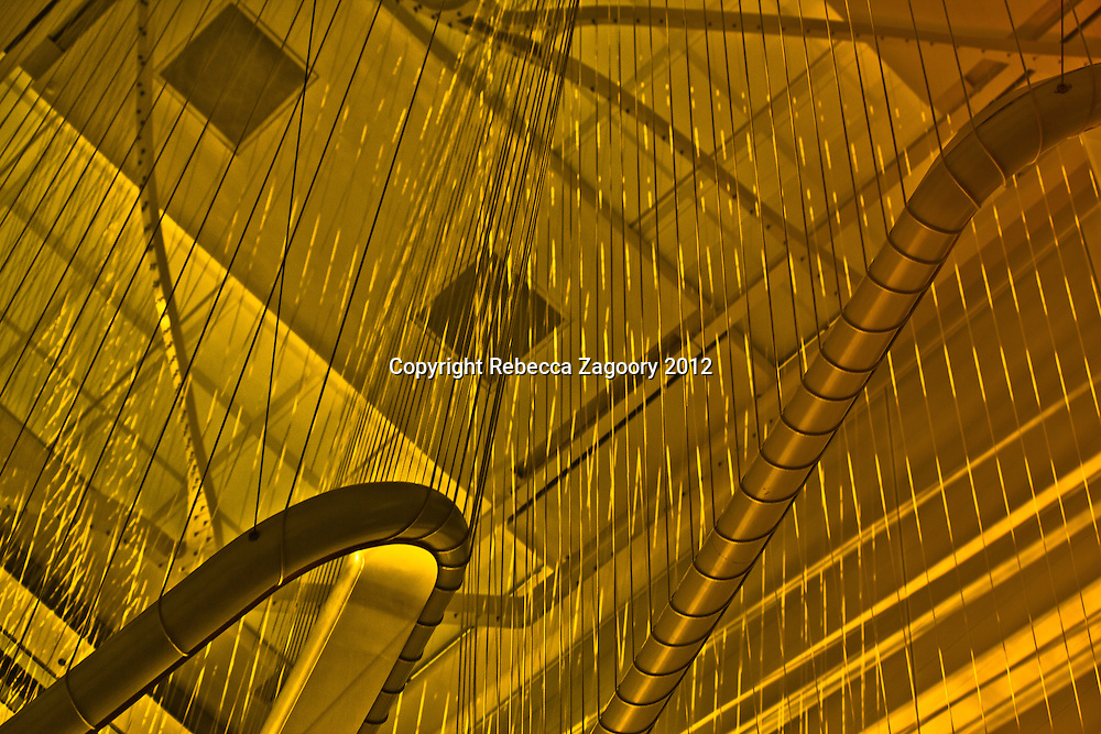 """From the moment I entered the lobby, I knew that I had stepped into an instrument. I call this series """"Inside the Harp"""" because it's tubular structure and the strings reminds me of one of the most etherial instruments ever made."""