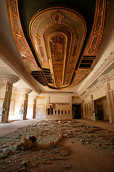 One of the rooms inside the now partially destroyed Salam Palace in Baghdad, Iraq, Sept. 29, 2003. According to Mowfaq Al-Tai, an Iraqi architect, the Salam Palace is most representative of the design and architecture used in the hundreds of palaces built for Saddam Hussein. Al-Tai was one the the engineers involved in the construction and quality control of the Hussein palaces.