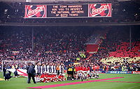 The England and German teams line-up for the national anthems before the match. England 0:1 Germany, FIFA World Cup 2002 Qualifier Group Nine, Wembley Stadium, 7/10/2000. Credit: Colorsport / Stuart MacFarlane.