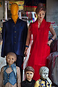 Western mannequins in front of a store on 21st February 2018 in Jodhpur, Rajasthan, India. Popularly known as the Blue City, Jodhpur is a city in the Thar Desert of the northwest Indian state of Rajasthan.  Jodhpur is the Handicraft Hub of India.