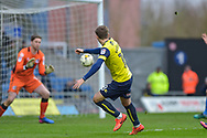 Oxford United Midfielder, Joe Rothwell (18) with a shot at goal during the EFL Sky Bet League 1 match between Oxford United and Scunthorpe United at the Kassam Stadium, Oxford, England on 18 March 2017. Photo by Adam Rivers.