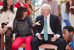 © Licensed to London News Pictures. 05/07/2012. London, England. Choreographer Arlene Phillips and London Mayor Boris Johnson with members of ZooNation. Official launch of Big Dance 2012, the UK's biggest celebration of dance at St Pancras International Station. Photo credit: Bettina Strenske/LNP
