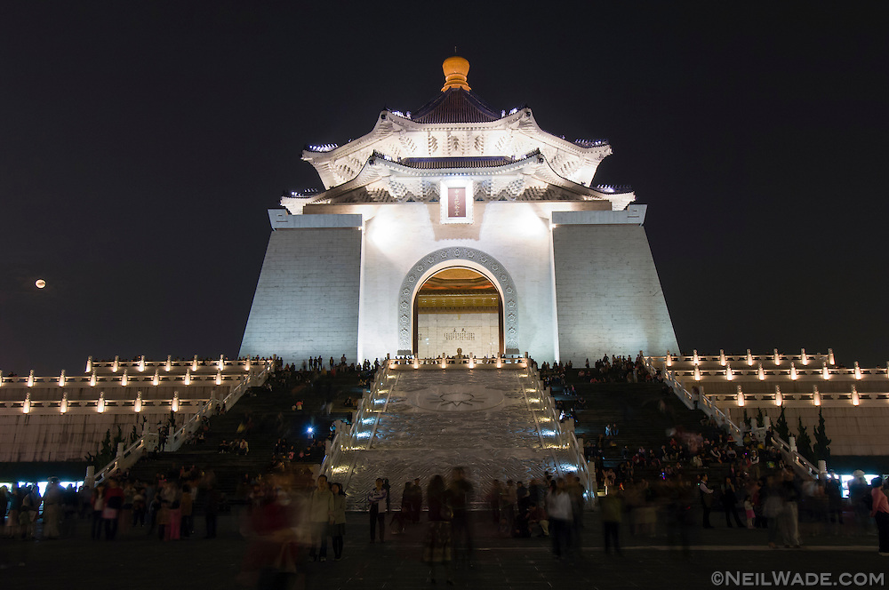 Liberty Square, formally known as Chiang Kai Shek Memorial Hall lit up at night during the spring lantern festival in Taipei, Taiwan.