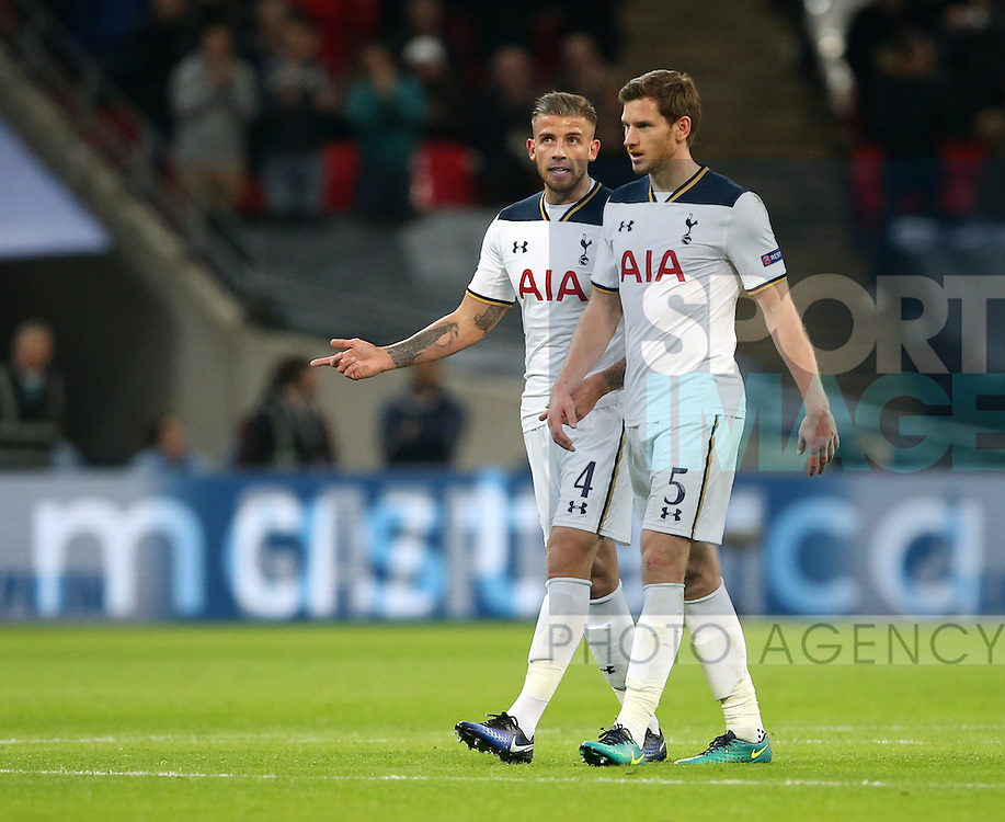 Tottenham's Toby Alderweireld with Jan Vertonghen during the Champions League group match at Wembley Stadium, London. Picture date December 7th, 2016 Pic David Klein/Sportimage