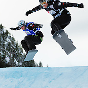 Canadian Snowboard-Cross racers Mike Robertson (6) and Francois Boivin (16) battle for position during the final race of the 2009 LG Snowboard FIS World Cup on February 13th, 2009 at Cypress Mountain, British Columbia. Robertson won the battle and took the silver medal for Canada while Boivin had to settle for fourth place on the day. Mandatory Photo Credit: Bella Faccie Sports Media\Thomas Di Nardo. Contact: Thomas Di Nardo, Snohomish, Washington, USA. Telephone 425-260-8467. e-mail: tom@bellafaccie.com