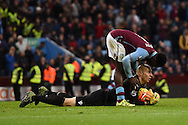 Micah Richards, the Aston Villa captain thanks Aston Villa goalkeeper Brad Guzan after he makes a save late in the game.  Barclays Premier league match, Aston Villa v Manchester city at Villa Park in Birmingham, Midlands  on Sunday 8th November 2015.<br /> pic by  Andrew Orchard, Andrew Orchard sports photography.