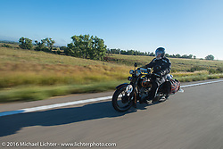 Peter Reeves riding his 1929 Harley-Davidson JD during Stage 8 of the Motorcycle Cannonball Cross-Country Endurance Run, which on this day ran from Junction City, KS to Burlington, CO., USA. Saturday, September 13, 2014.  Photography ©2014 Michael Lichter.