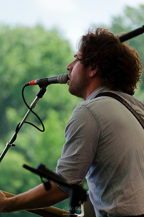 A view of Taylor Goldsmith of Dawes from the stage while performing at the 2012 Appel Farm Arts & Music Festival.