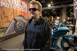 Fred Kodlin in his Murder Cycles booth in the custom themed Hall 10 at the Intermot Motorcycle Trade Fair. Cologne, Germany. Wednesday October 5, 2016. Photography ©2016 Michael Lichter.Intermot Motorcycle Trade Fair. Cologne, Germany. Wednesday October 5, 2016. Photography ©2016 Michael Lichter.
