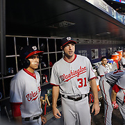 NEW YORK, NEW YORK - July 07: Max Scherzer #31 of the Washington Nationals talking with the batboy as Lucas Giolito #44 of the Washington Nationals prepares to bat during the Washington Nationals Vs New York Mets regular season MLB game at Citi Field on July 07, 2016 in New York City. (Photo by Tim Clayton/Corbis via Getty Images)