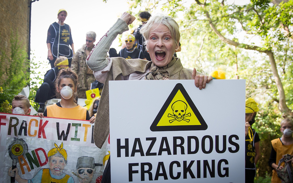 """Dame Vivienne Westwood drives at tank  with the """"Nanas against fracking""""to make 'Chemical Attack' on David Cameron's Witney Constituency Home – Friday 11th September 2015<br /> <br /> <br /> Photos Ki Price"""